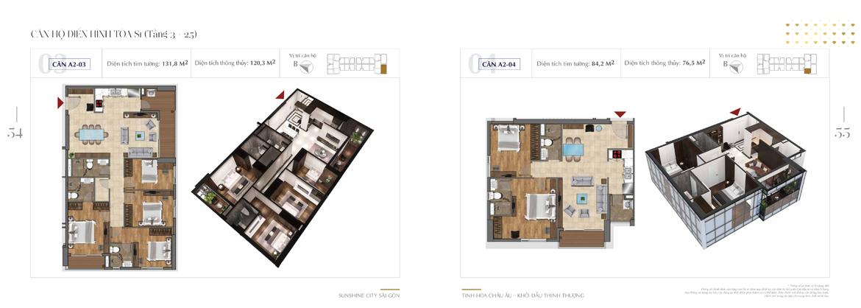 Thiết kế chi tiết căn hộ Sunshine City Sài Gòn Quận 7 Block S1-A2-03-+-A2-04