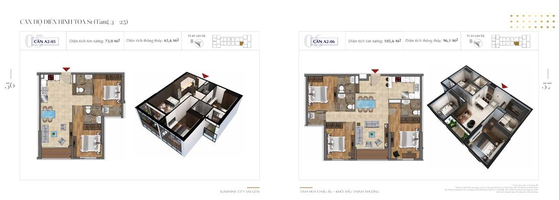 Thiết kế chi tiết căn hộ Sunshine City Sài Gòn Quận 7 Block S1-A2-05-+-A2-06