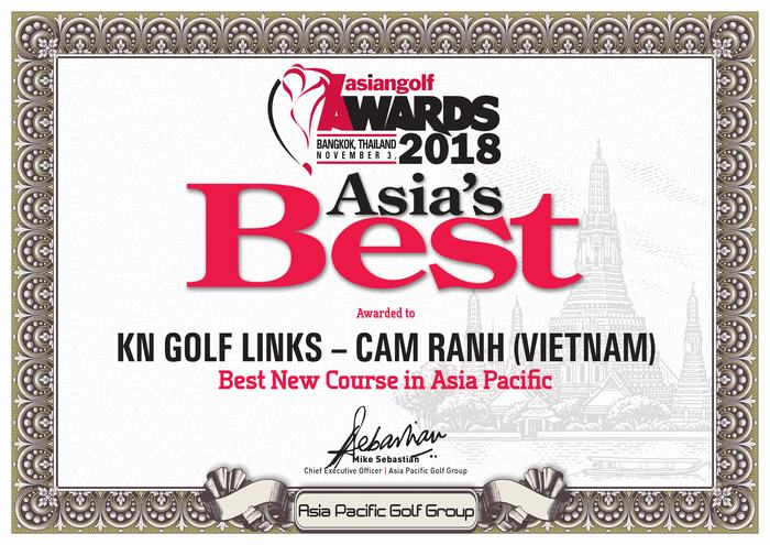 KN Golf Links – một trong những sân golf mới nhất của Việt Nam đã góp mặt lần đầu tiên tại Lễ trao giải Golf Châu Á năm 2018 ở Thái Lan và xuất sắc được vinh danh là Sân golf mới tốt nhất Châu Á Thái Bình Dương.