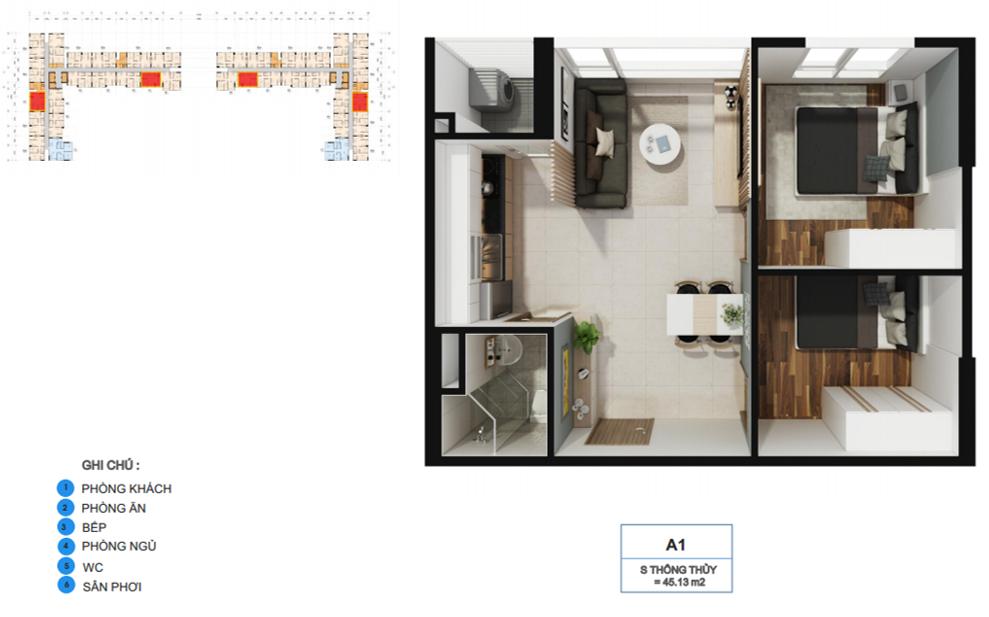 Thiết kế căn hộ La Premier Quận 2 diện tích 45m2 - Loại thiết kế 2 phòng ngủ - 1 vệ sinh