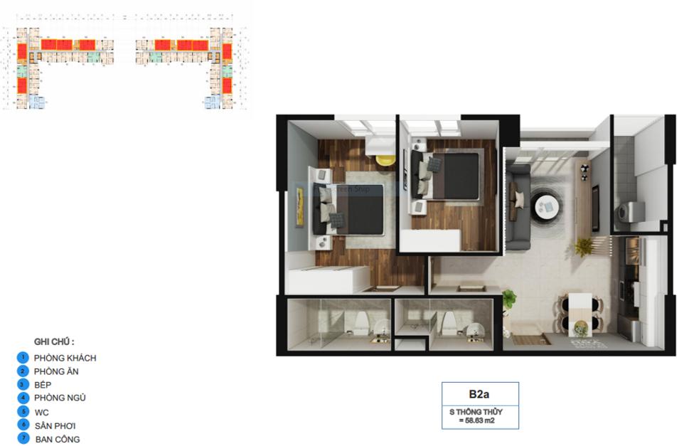 Thiết kế căn hộ La Premier Quận 2 diện tích 45m2 - Loại thiết kế 2 phòng ngủ - 2 vệ sinh