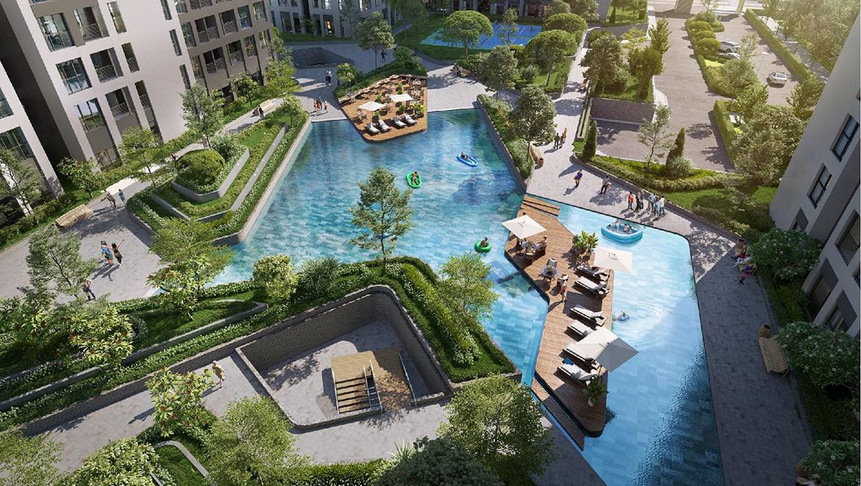 Hồ bơi rộng 1000 m2 cùng khuôn viên cảnh quan dự án hơn 8000 m2 tại căn hộ Cộng Hòa Garden – GD BĐS An Gia Land 0901.828.205