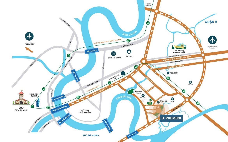 Vị trí địa chỉ dự án căn hộ chung cư La Premier Quận 2 Phường Thạnh Mỹ Lợi chủ đầu tư Phú Cường Group và Lotte Việt Nam