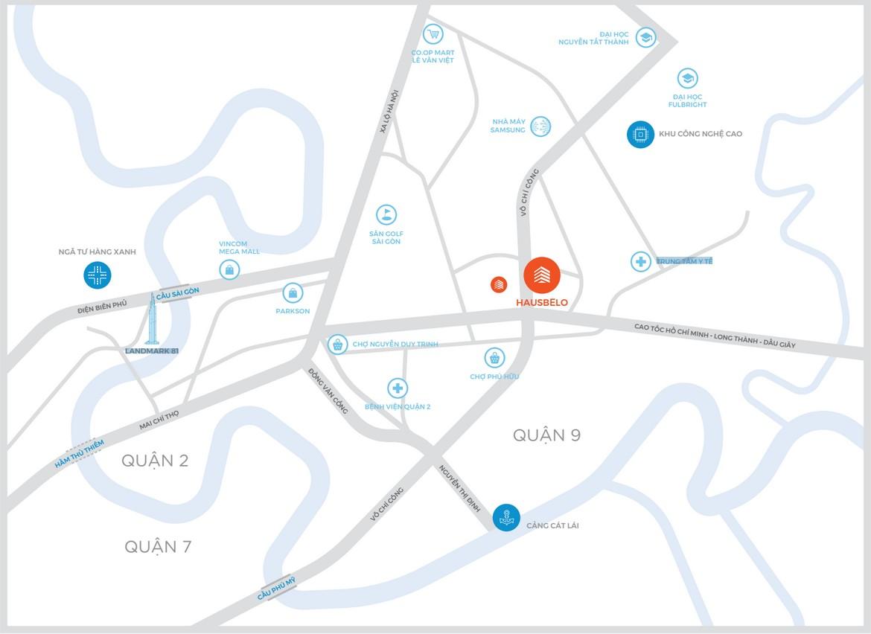 Vị trí địa chỉ dự án căn hộ chung cư Hausbelo Quận 9 Đường Liên Phường chủ đầu tư Ezland
