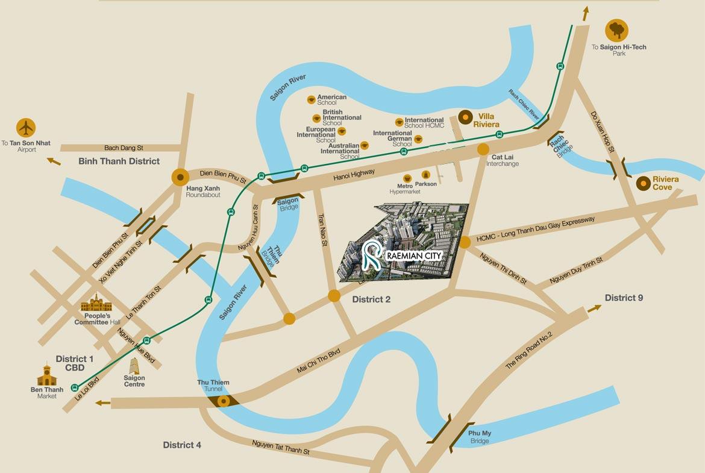 Vị trí địa chỉ dự án căn hộ chung cư Raemian City Quận 2 Phường An Phú An Khánh chủ đầu tư HDTC