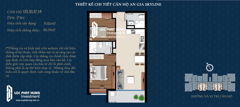 Thiết kế chi tiết căn hộ diện tích 72m2 An Gia Skyline đang cho thuê