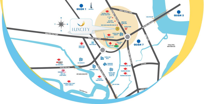 Vị tri dự án căn hộ Luxcity Huỳnh Tấn Phát