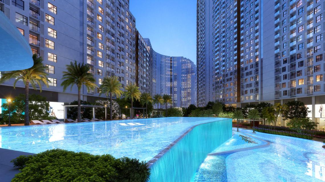 Hồ bơi thác nước 2 tầng dự án căn hộ River City Quận 7