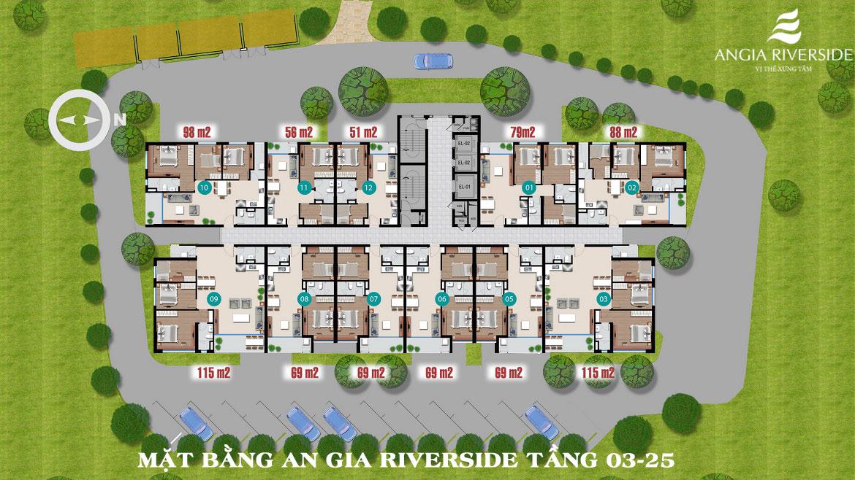 Mặt bằng căn hộ chung cư An Gia Riverside Quận 7