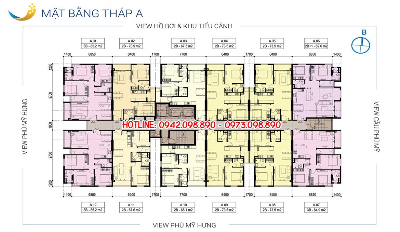 Mặt bằng tháp A dự án căn hộ chung cư Luxcity Quận 7 Đường Huỳnh Tấn Phát chủ đầu tư Đất Xanh
