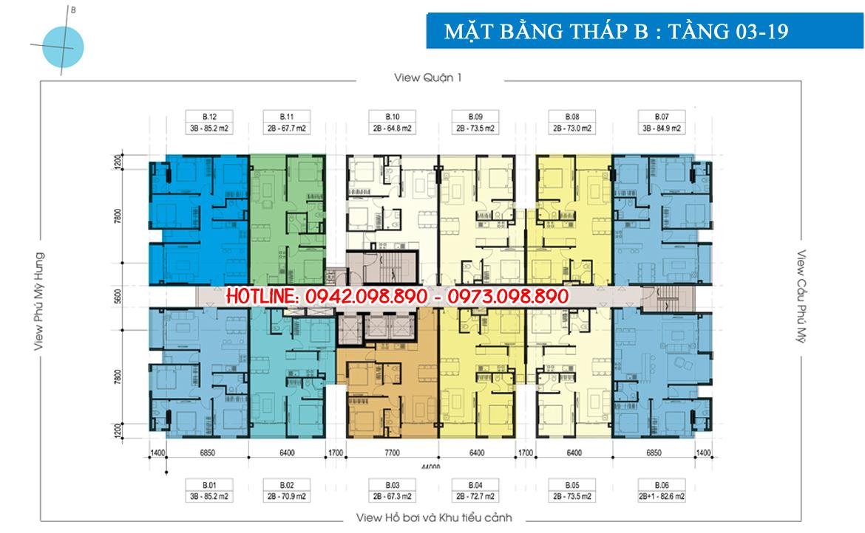 Mặt bằng tháp B dự án căn hộ chung cư Luxcity Quận 7 Đường Huỳnh Tấn Phát chủ đầu tư Đất Xanh