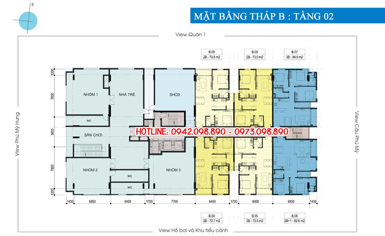 Mặt bằng tháp B tầng 02 dự án căn hộ chung cư Luxcity Quận 7 Đường Huỳnh Tấn Phát chủ đầu tư Đất Xanh