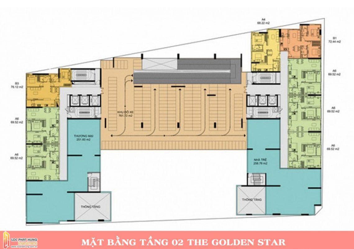 Mặt bằng tầng 2 dự án căn hộ chung cư The Golden Star Quận 7 Đường Nguyễn Thị Thập chủ đầu tư Hưng Lộc Phát cho thuê và bán lại