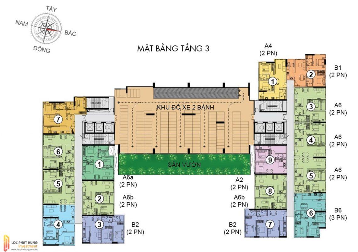 Mặt bằng tầng 3 dự án căn hộ chung cư The Golden Star Quận 7 Đường Nguyễn Thị Thập chủ đầu tư Hưng Lộc Phát cho thuê và bán lại