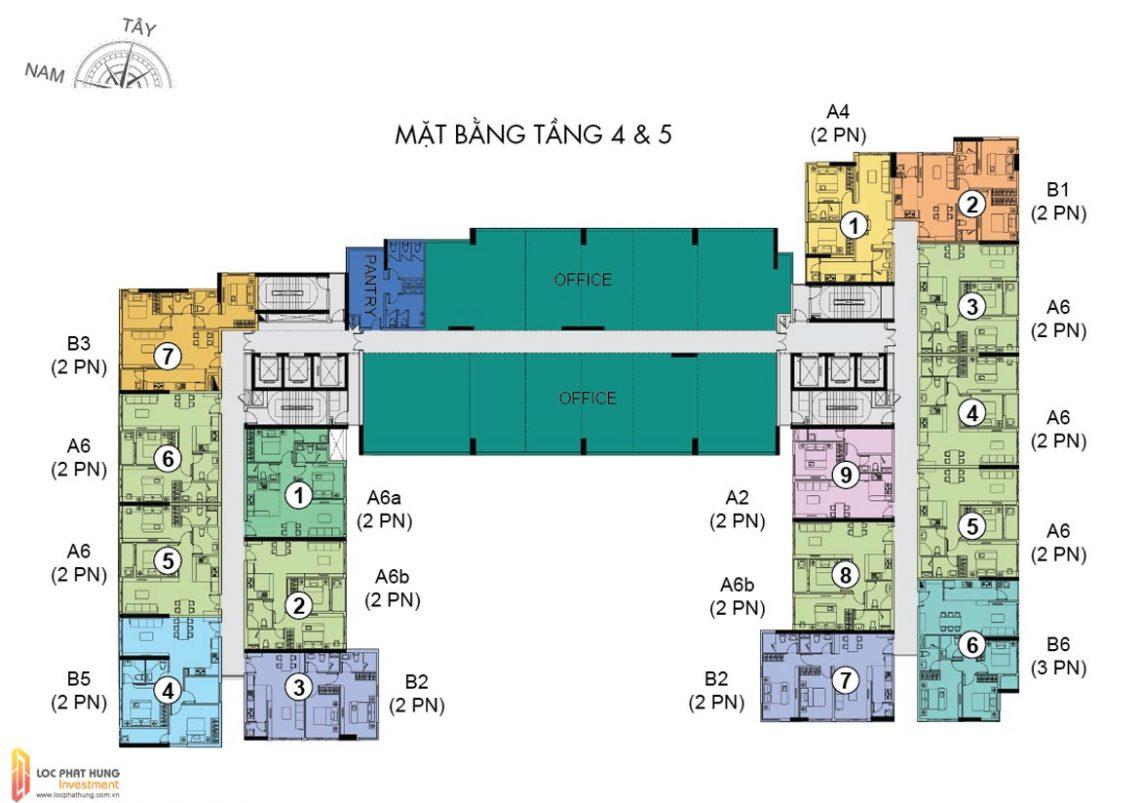 Mặt bằng tầng 4,5 dự án căn hộ chung cư The Golden Star Quận 7 Đường Nguyễn Thị Thập chủ đầu tư Hưng Lộc Phát cho thuê và bán lại
