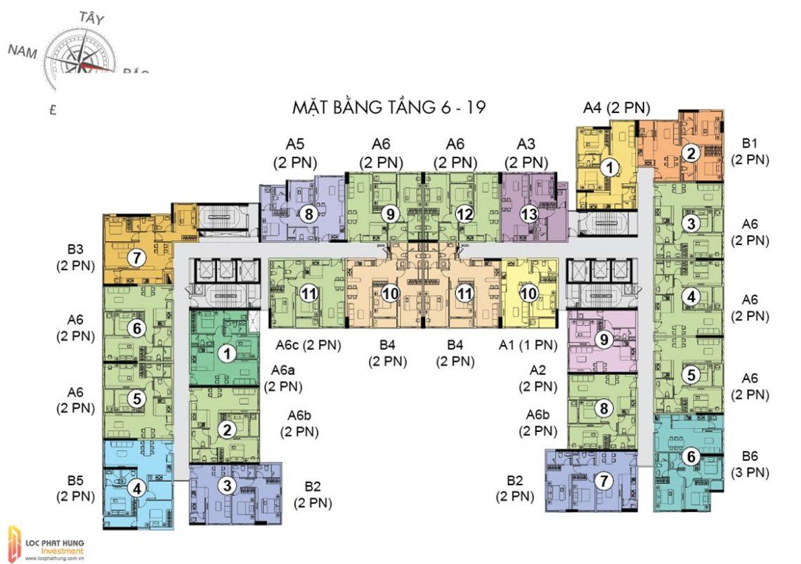 Mặt bằng tầng 06-19 dự án căn hộ chung cư The Golden Star Quận 7 Đường Nguyễn Thị Thập chủ đầu tư Hưng Lộc Phát cho thuê và bán lại