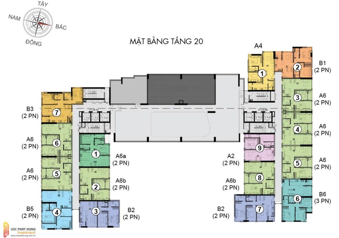 Mặt bằng tầng 20 dự án căn hộ chung cư The Golden Star Quận 7 Đường Nguyễn Thị Thập chủ đầu tư Hưng Lộc Phát cho thuê và bán lại