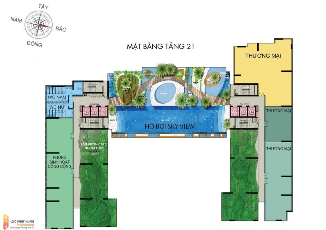 Mặt bằng tầng 21 dự án căn hộ chung cư The Golden Star Quận 7 Đường Nguyễn Thị Thập chủ đầu tư Hưng Lộc Phát cho thuê và bán lại