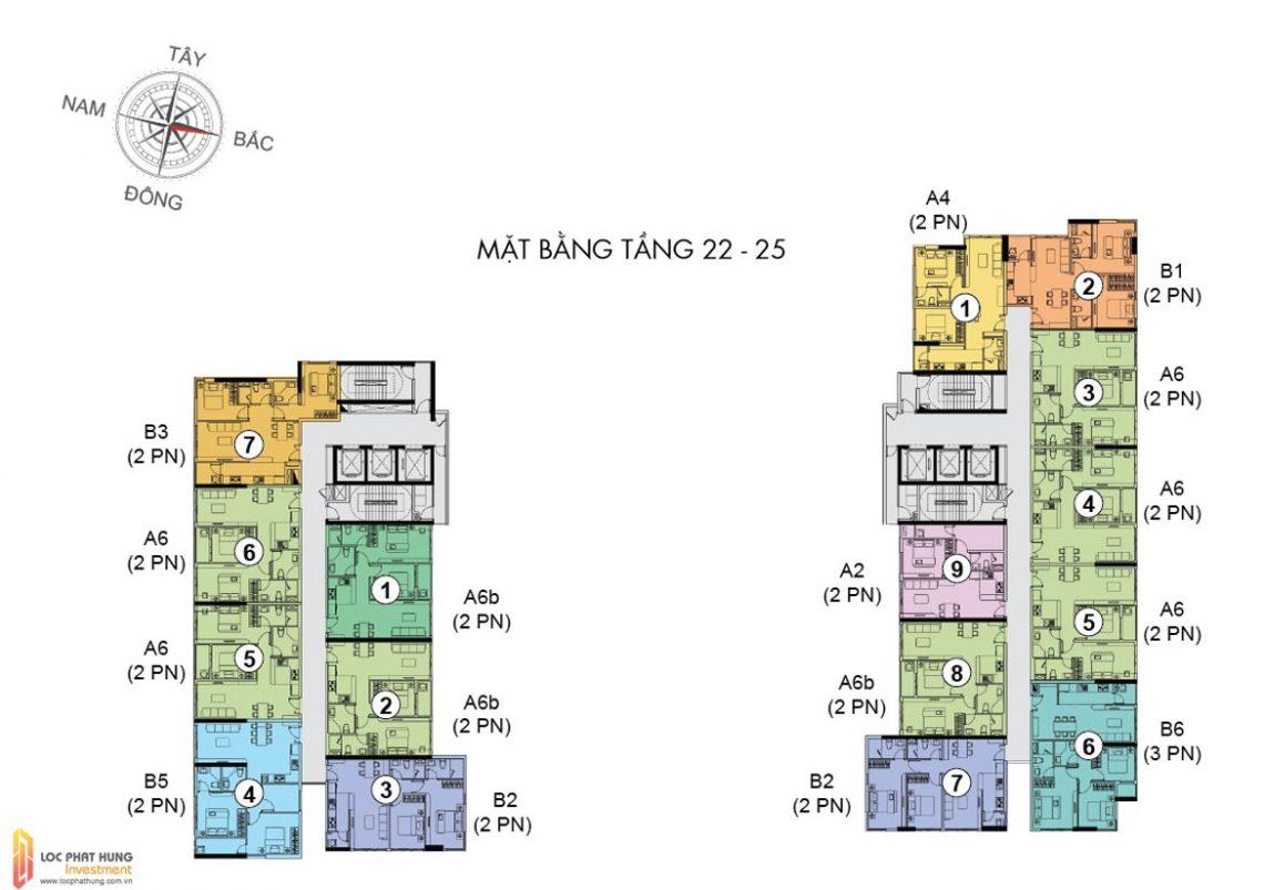 Mặt bằng tầng 22-25 dự án căn hộ chung cư The Golden Star Quận 7 Đường Nguyễn Thị Thập chủ đầu tư Hưng Lộc Phát cho thuê và bán lại