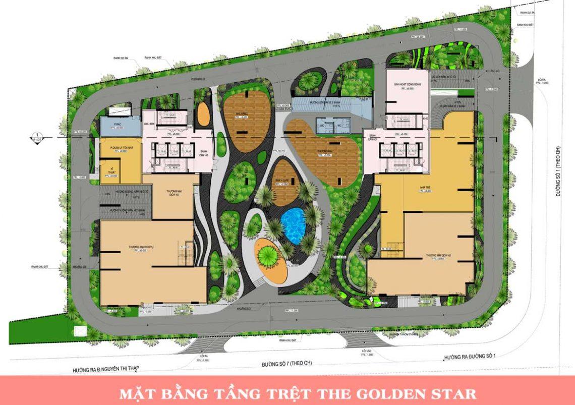 Mặt bằng tầng trệt dự án căn hộ chung cư The Golden Star Quận 7 Đường Nguyễn Thị Thập chủ đầu tư Hưng Lộc Phát cho thuê và bán lại