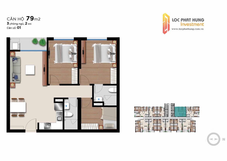 Thiết kế căn hộ 79m2 loại 3 phòng ngủ đang cho thuê  – Liên hệ SGD BĐS Lộc Phát Hưng 0942.098.890 để nhận mua bán ký gửi , cho thuê căn hộ