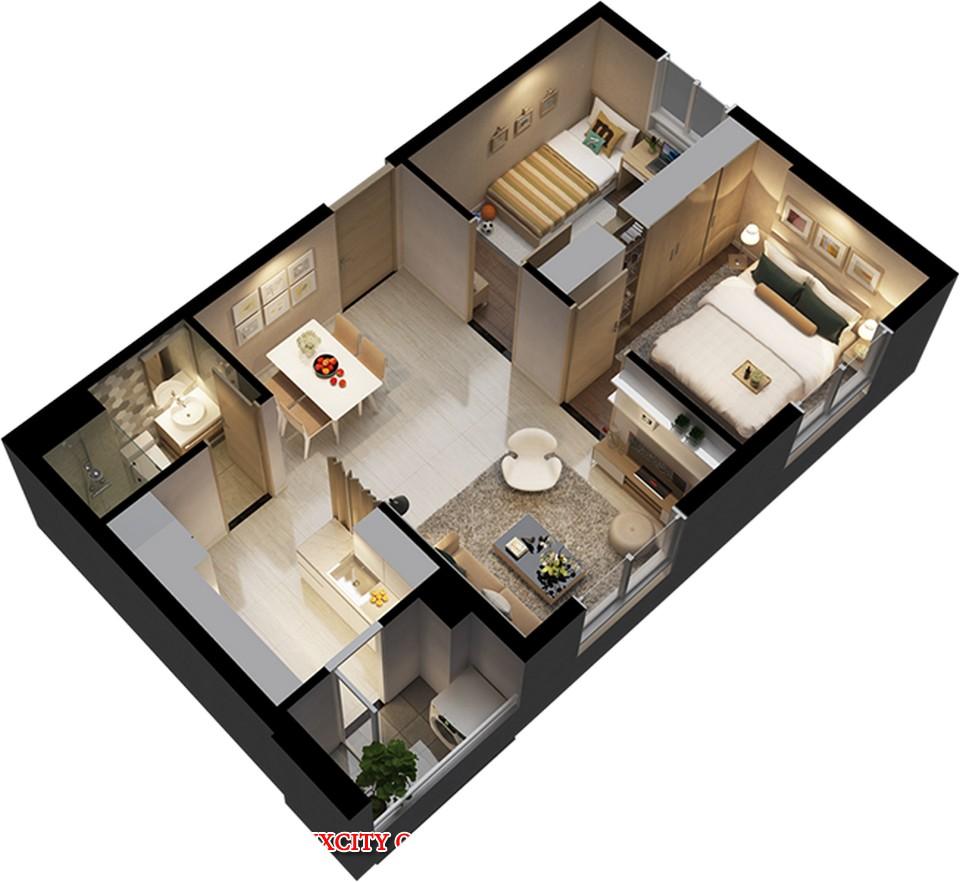 Mặt bằng thiết kế căn hộ 1 phòng ngủ dự án căn hộ chung cư Luxcity Quận 7 cho thuê