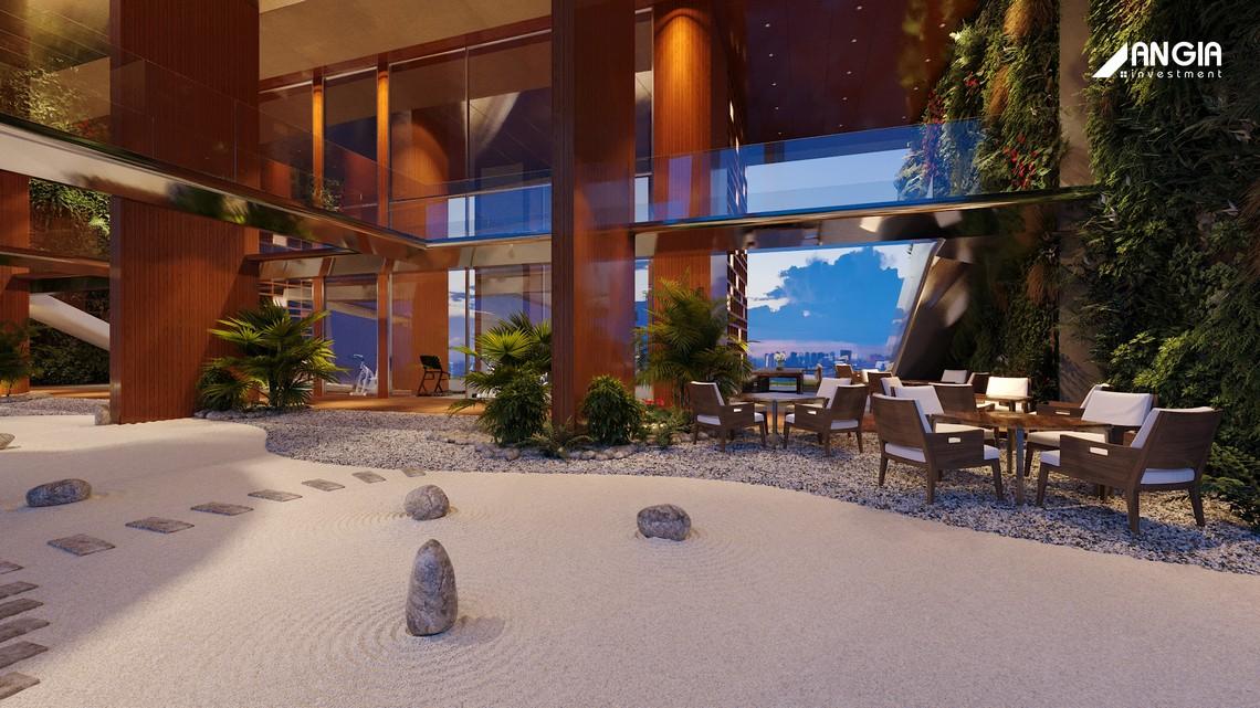 •Vườn thư giãn trên không (Sky Zen Garden): Tầm nhìn hướng thẳng sông Sài Gòn, với chiều cao tương đương 3 tòa nhà, được bố trí trên không gian các tầng 23 24 25. Tái hiện không gian an nhiên của khu vườn Nhật, với các dãy cát trắng và cây xanh , mang đến những giây phút thư thái. Các khu vực hấp dẫn nằm ngay tại khuôn viên Skygate Garden sẵn sàng để cư dân khám phá