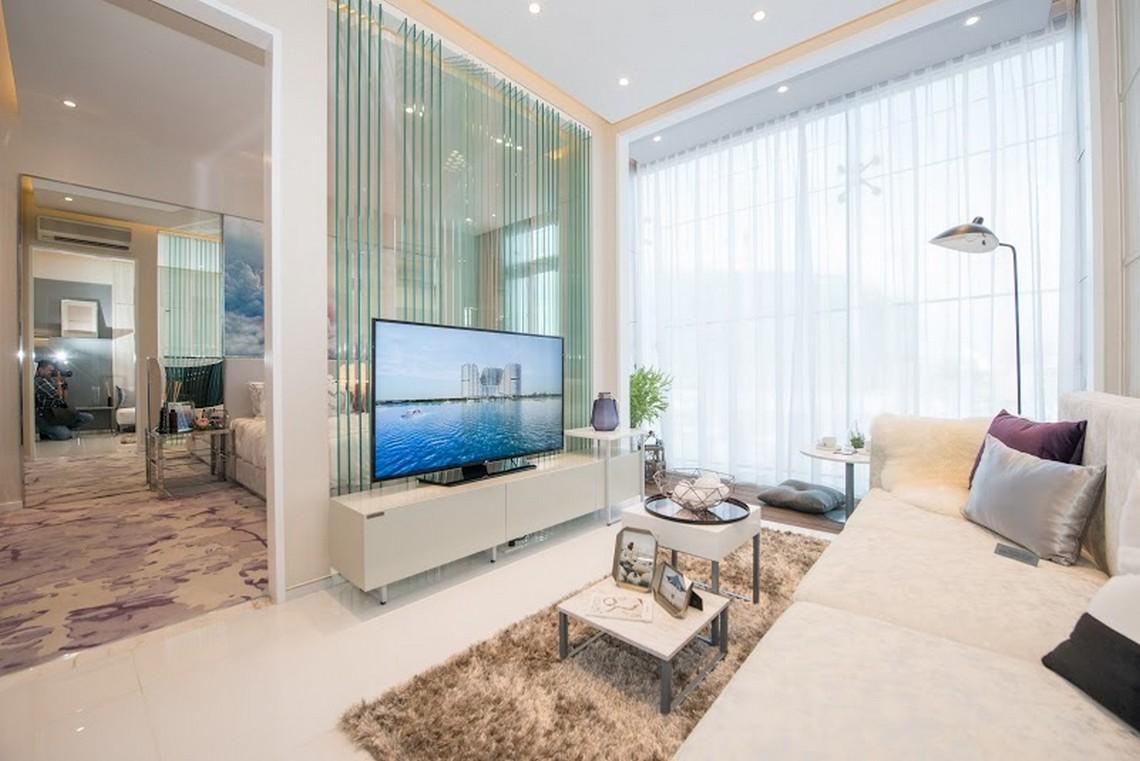 Thiết kế phòng khách căn hộ chung cư River City Quận 7 diện tích 55m2
