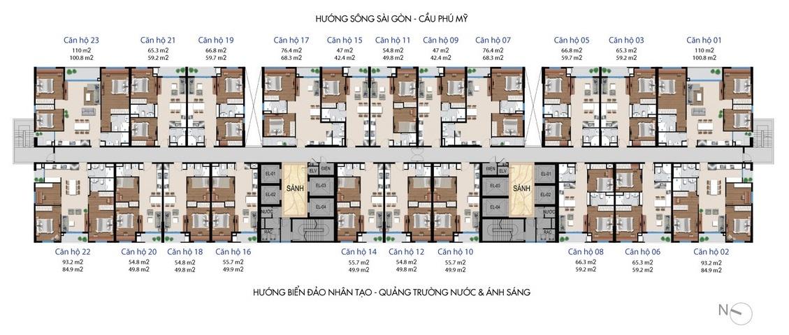 Mặt bằng thiết kế dự án căn hộ Sunshine River City Quận 7