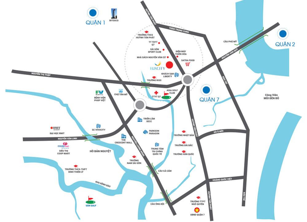 Vị trí địa chỉ dự án căn hộ chung cư Luxcity Quận 7 Đường Phú Thuận chủ đầu tư Đất Xanh