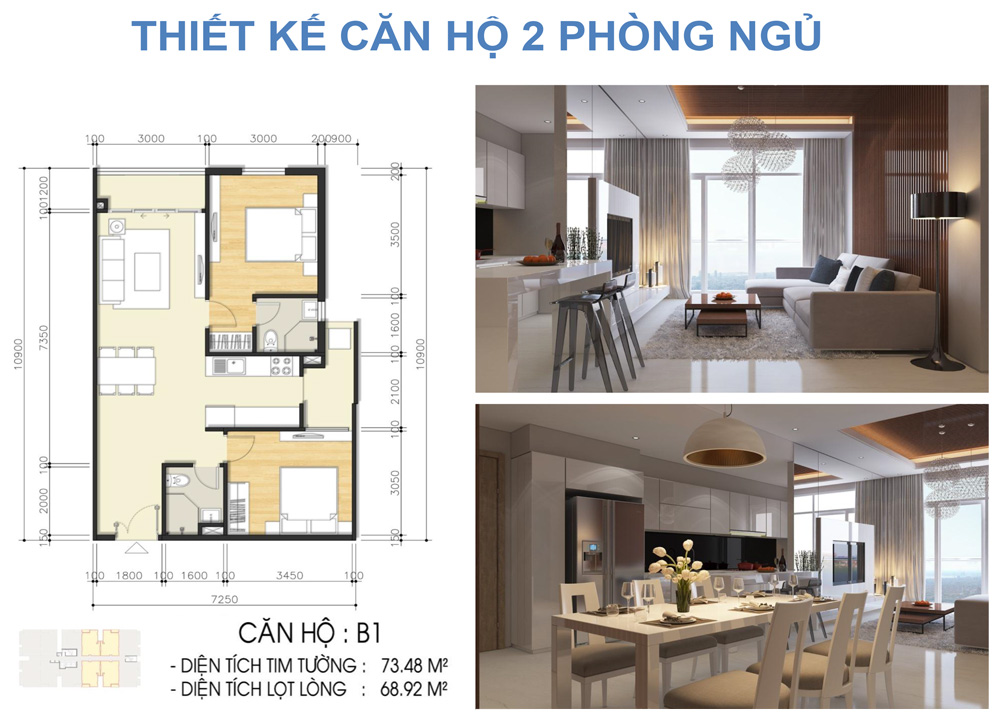 Thiết kế loại căn hộ 2 phòng ngủ dự án căn hộ chung cư Luxcity Quận 7 Đường Huỳnh Tấn Phát chủ đầu tư Đất Xanh