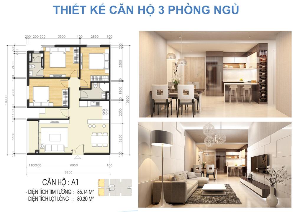 Thiết kế loại căn hộ 3 phòng ngủ dự án căn hộ chung cư Luxcity Quận 7 Đường Huỳnh Tấn Phát chủ đầu tư Đất Xanh