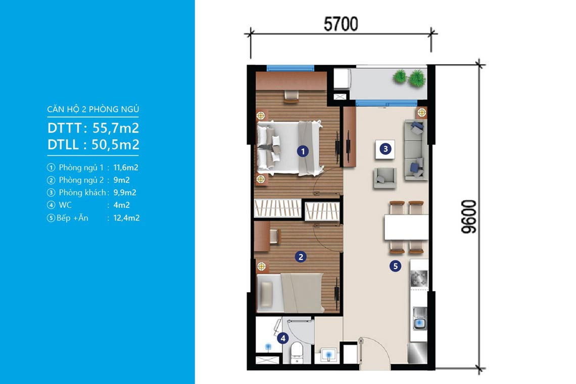 Mẫu thiết kế căn hộ chung cư River City Quận 7 diện tích 55m2