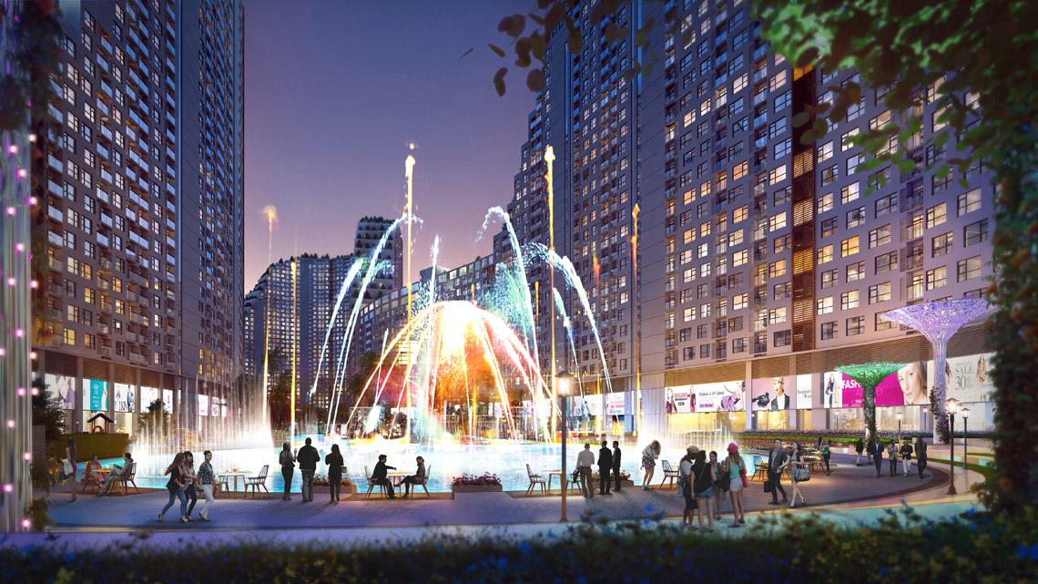Quảng trường nước và ánh sáng dự án River City Quận 7