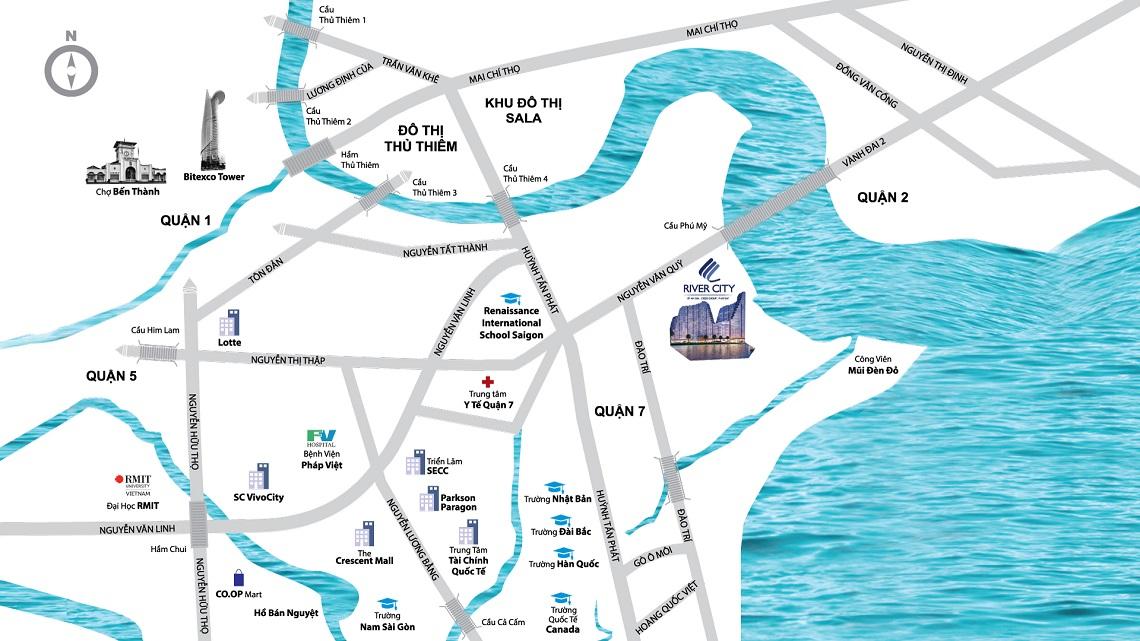 Vị trí địa chỉ dự án căn hộ chung cư River City Quận 7 Đường Đào Trí chủ đầu tư Sunshine Group