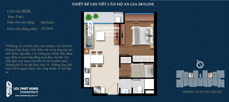 Thiết kế căn hộ 58,25m2 dự án An Gia Skyline Quận 7 Đường 89 Hoàng Quốc Việt chủ đầu tư An Gia Investment