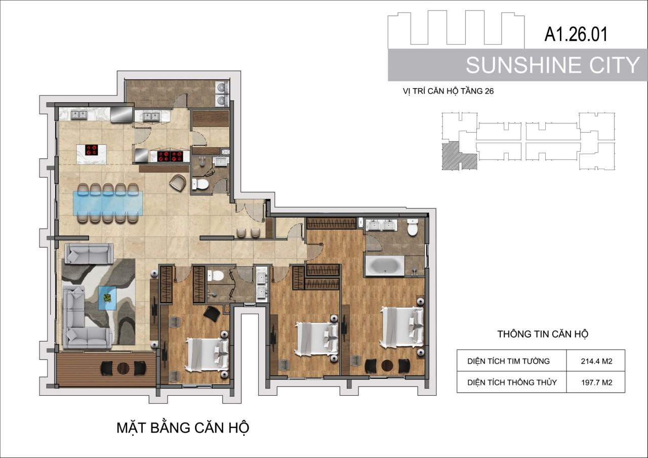Thiết kế căn hộ Penhouse Sunshine City Sài Gòn Quận 7 - Mã căn hộ A1-26-01