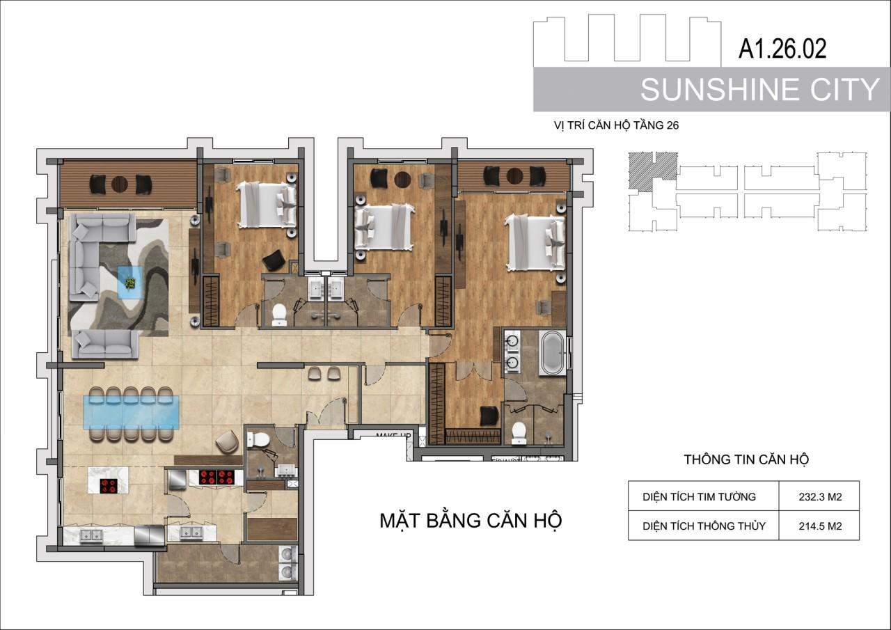 Thiết kế căn hộ Penhouse Sunshine City Sài Gòn Quận 7 - Mã căn hộ A1-26-02