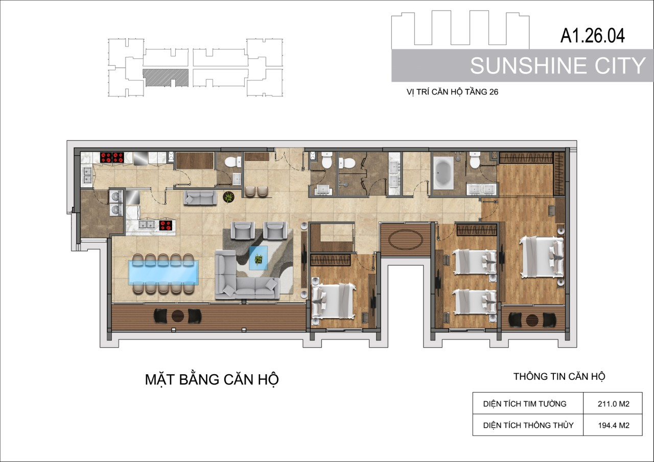 Thiết kế căn hộ Penhouse Sunshine City Sài Gòn Quận 7 - Mã căn hộ A1-26-04