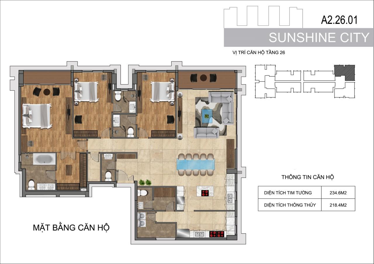 Thiết kế căn hộ Penhouse Sunshine City Sài Gòn Quận 7 - Mã căn hộ A2-26-01
