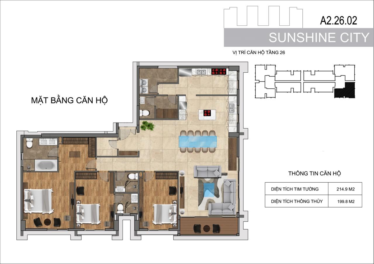 Thiết kế căn hộ Penhouse Sunshine City Sài Gòn Quận 7 - Mã căn hộ A2-26-02