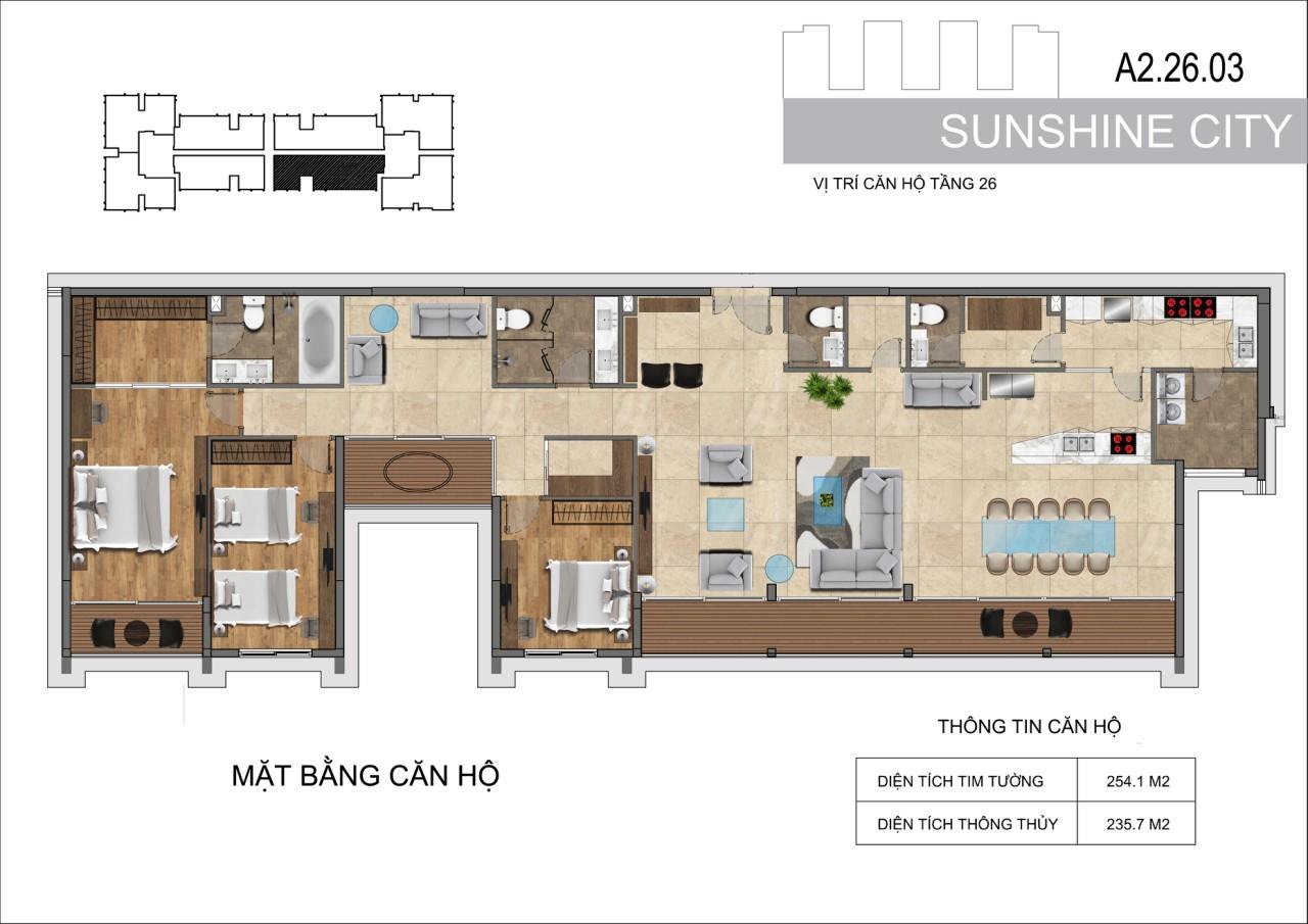 Thiết kế căn hộ Penhouse Sunshine City Sài Gòn Quận 7 - Mã căn hộ A2-26-03