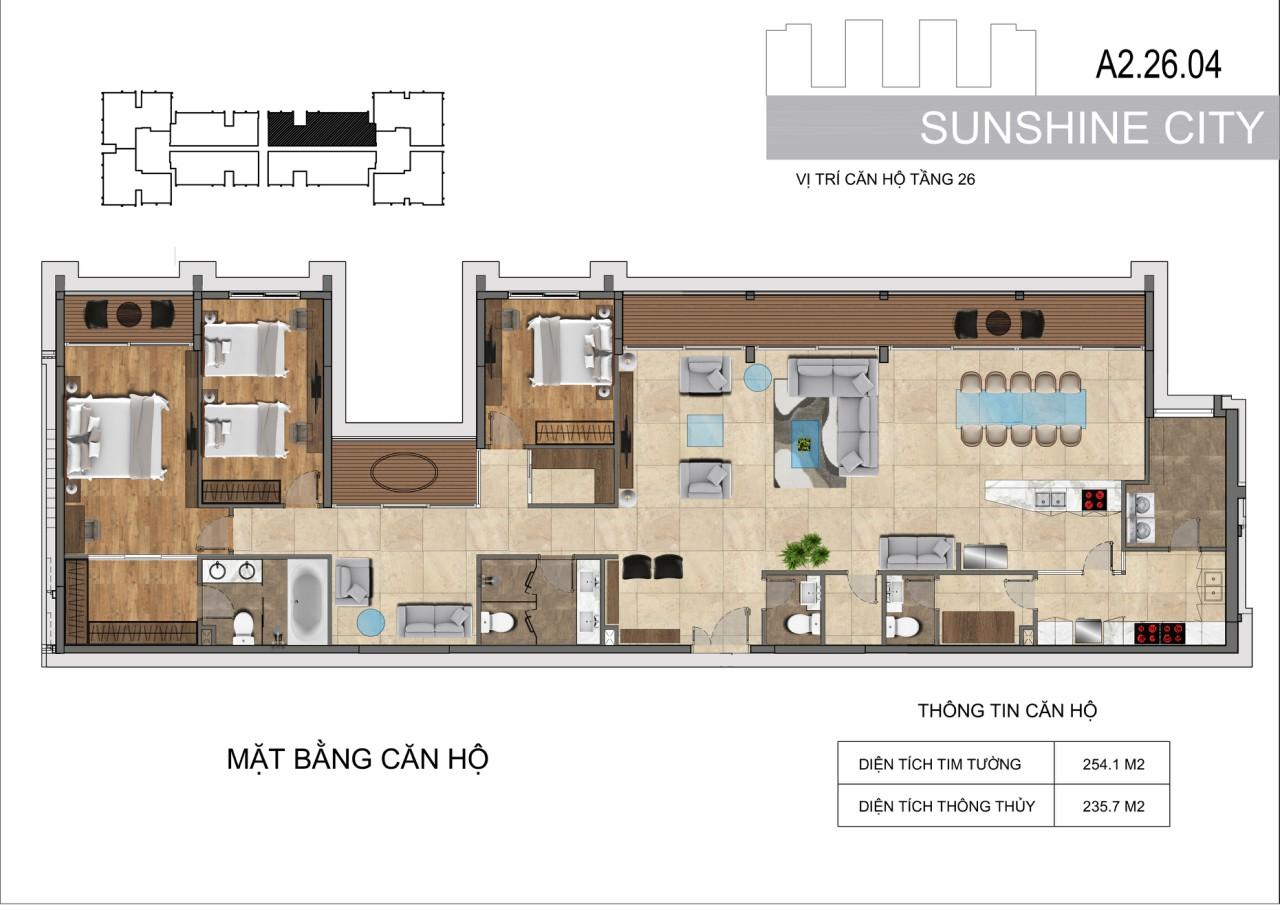 Thiết kế căn hộ Penhouse Sunshine City Sài Gòn Quận 7 - Mã căn hộ A2-26-04