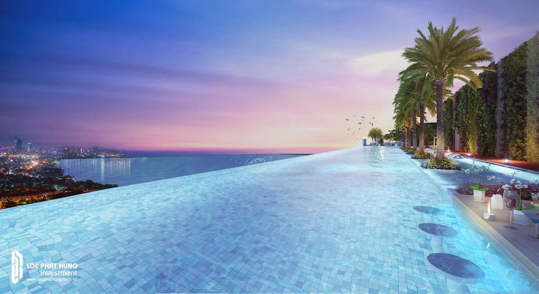 Tiện ích hồ bơi tràn bờ tầng 33 dự án căn hộ Smartel Signial Quận 7