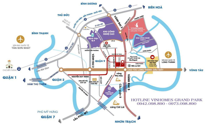Bản đồ vị trí địa chỉ tổng thể dự án khu đô thị Vinhomes Grand Park Quận 9