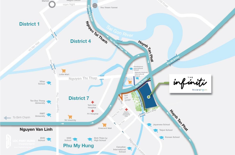 Vị trí cho thuê căn hộ the infiniti Riviera Point Quận 7 Dự án Keppel Land