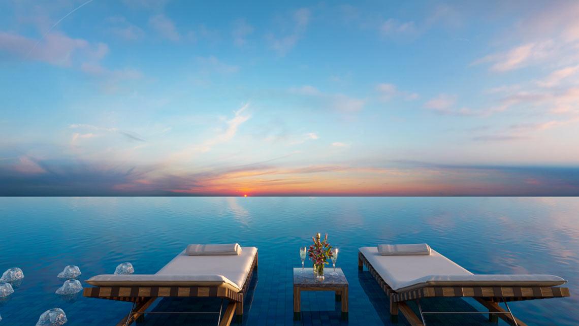 Hồ bơi nước ấm tầng 35 SKy 89 view toàn cảnh TP HCM ban đêm, Cầu Phú Mỹ và trực diện view Sông Sài Gòn