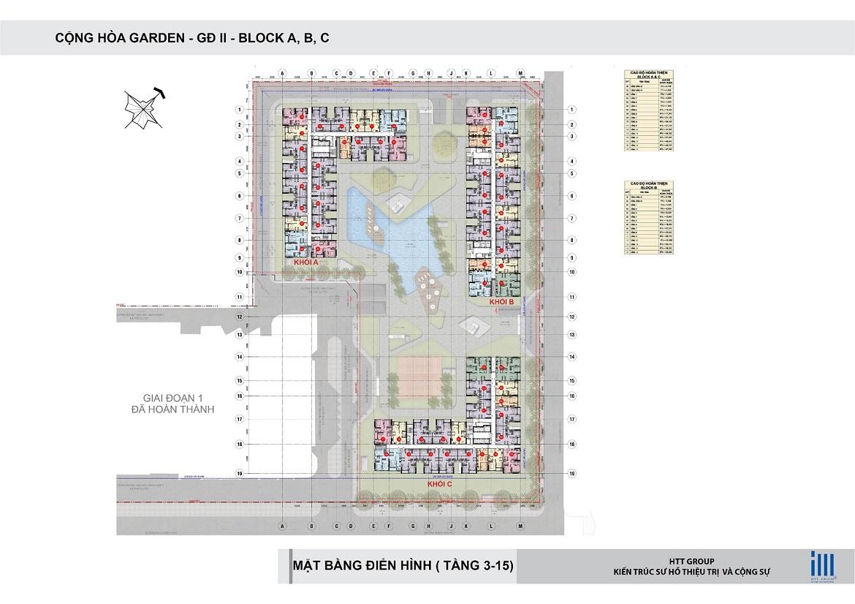 Mặt bằng tầng 3-15 block A, B, C căn hộ chung cư Cộng Hòa Garden quận Tân Bình