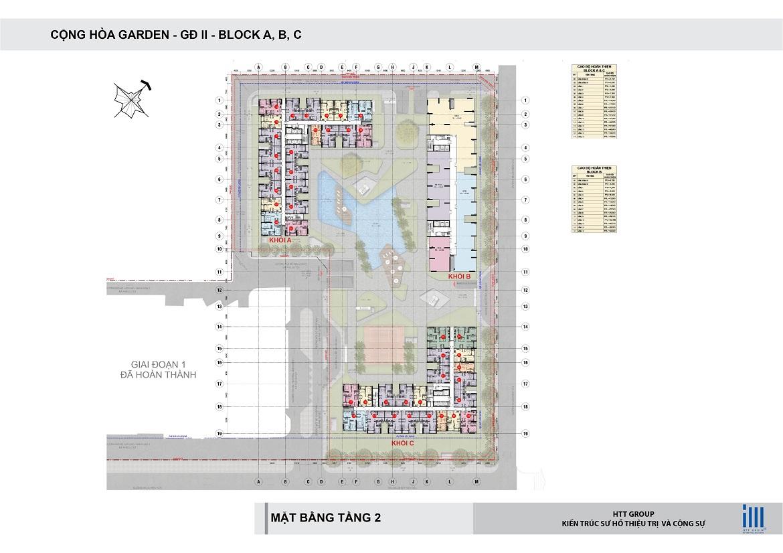 Mặt bằng tầng 2 block A, B, C căn hộ chung cư Cộng Hòa Garden quận Tân Bình