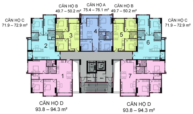 Mặt bằng điển hình dự án căn hộ chung cư An Sương I Park Quận 12
